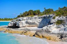The sandstone shoreline of Eleuthera Island.
