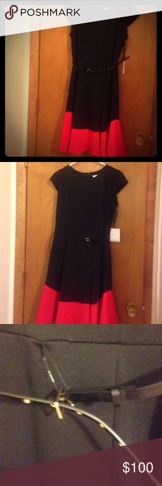 Black and Red Calvin Klein Dress Black and Red Calvin Klein Dress with removable bent.  Size 8. Polyester/Spandex/Rayon blend. Brand new with tags. Reasonable offers welcome. Bundle and save!!! Calvin Klein Dresses Midi