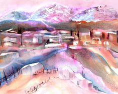 Swiss Mountain Village Canvas Print / Canvas Art by Sabina Von Arx Scenery Paintings, Mountain Paintings, Landscape Paintings, Mountain Village, Mountain Art, Watercolor Paintings Abstract, Watercolor Landscape, Watercolors, Warm Colour Palette
