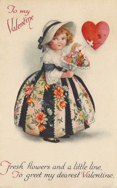 A free beautiful floral Valentine& Day image from the vintage library of Amy Barickman, collector and curator of vintage ephemera. Valentine Images, My Funny Valentine, Valentines Greetings, Vintage Valentine Cards, Vintage Greeting Cards, Vintage Ephemera, Vintage Holiday, Valentine Day Cards, Vintage Postcards