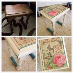 Before and after - ASCP - Annie Sloan chalk paint - Restored - Decoupage - Distressed look Annie Sloan Chalk Paint, Furniture Restoration, Diy Stuff, Painted Furniture, Decoupage, Wedding Decorations, Shabby Chic, Objects, Diy Projects