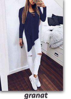 Fashion Cross Lace Up Irregular Side Slit Long Sleeve Blouse