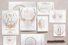 Wreath & Flower Wedding Invitation - Invitations