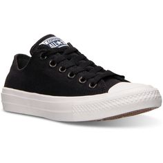 Converse Women's Chuck Taylor All Star Ii Ox Casual Sneakers from... ($75) ❤ liked on Polyvore featuring shoes, sneakers, converse, black, converse footwear, holiday shoes, star sneakers, special occasion shoes and cushioned shoes