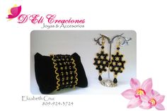 Set de cristales negros y mostacillas doradas.