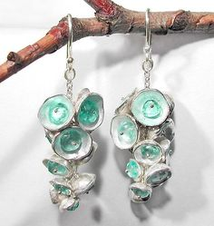 Apatite Pod Cluster Earrings by Sarah Richardson: Silver and Stone Earrings available at www.artfulhome.com