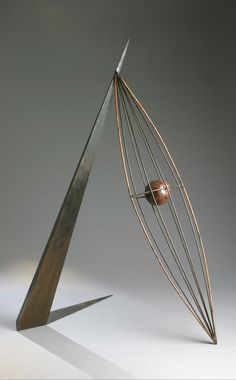 Title: Praxis :: abstract metal indoor-outdoor sculpture by Jonathan Russell (steel and copper: 36 in. w x 36 in. d x 50 in. h)