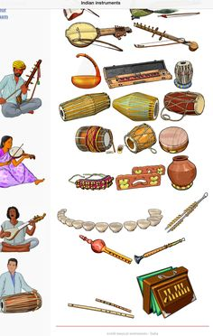 INDIA 2. Up/Down, left to right 1.-Kamaicha: chordophone / bowed string instrument. 2.-Ravanhatta: chordophone / bowed string instrument. 3.-Yazh: chordophone / harp family. 4.-Indian banjo (bulbul tarang) chordophone / zither family. 5.-Tabla: membranophone / drum. 6.-Mridangam: membranophone / drum. 7.-Khol (mridanga):membranophone / drum. 8.-Dholak: membranophone / drum. 9.-Thavil: membranophone / drum. 10.-Khamak: chordophone. 11.-Ghungroo: Idiophone. 12.-kartal: idiophone. 13.-ghatam…