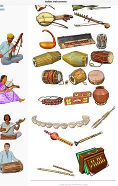 INDIA 2. Up/Down, left to right 1.-Kamaicha: chordophone / bowed string instrument. 2.-Ravanhatta: chordophone / bowed string instrument. 3.-Yazh: chordophone / harp family. 4.-Indian banjo (bulbul tarang) chordophone / zither family. 5.-Tabla: membranophone / drum. 6.-Mridangam: membranophone / drum. 7.-Khol (mridanga):membranophone / drum. 8.-Dholak: membranophone / drum. 9.-Thavil: membranophone / drum. 10.-Khamak: chordophone. 11.-Ghungroo: Idiophone. 12.-kartal: idiophone. 13.-ghatam…