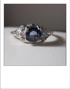 Antique Art Deco Platinum 1.3 Carat CeylonBlue Sapphire Diamond Engagement Ring by BellaJewelryShop on Etsy