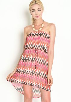 Breeze through your day in this pretty print dress! Strapless sheer dress in a colorful chevron print, with a high low waist and light, airy fit. Built in short slip. Looks cute with a necklace and strappy heels!  http://foxyblu.com/details/94043
