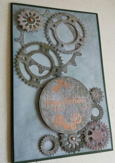 Masculine birthday card, made with Spellbinders' Sprightly Sprockets.