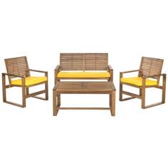 Made from solid acacia wood, this patio dining set brings a resort-like ambiance outdoor living to any home. It includes two arm chairs, a love seat and a spacious coffee table.