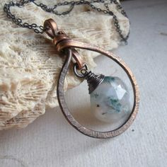 Copper necklace with stone.