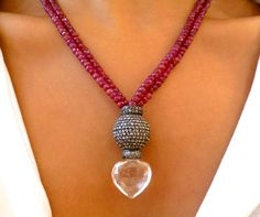 Ruby necklace, with rose cut champagne diamonds & a heart shaped crystal quartz! Inspired by July's Birthstone Ruby! Ruby Necklace, July Birthstone, Champagne Diamond, Quartz Crystal, Birthstones, Heart Shapes, Diamonds, Inspired, Crystals