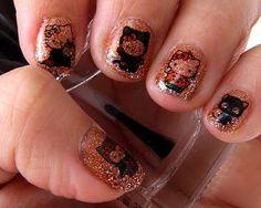 DIY halloween nails: DIY Halloween nail art : Halloween Freestyle- Hello Kitty- LOTD