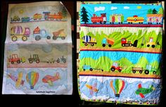 From doodles to a finished project. Amazing Boy's quilt for Tigger's third birthday with train, construction vehicles, tractors and planes. Full fo vibrant colours.