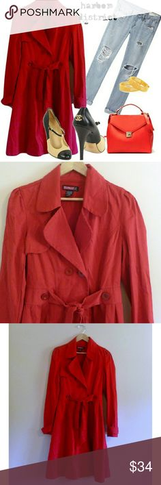 """SOLD - (273) Red Fitted Trench Coat - Size XS Beautifully tailored flattering feminine trench coat! It ties at the waist to show off your shape. Great for layering. Eye catching bold red. Full length. The prettiest pleating in the back. Great details; so chic. Bust: 34"""", waist: 30"""", hip: free, length: 39"""", label: Say What?, size: XS, materials: cotton. Say What? Jackets & Coats Trench Coats"""
