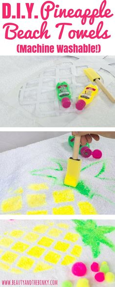 A Tropical Summer DIY To Create The Cutest Pineapple Beach Towel Sponsored BringTheTropicsHome