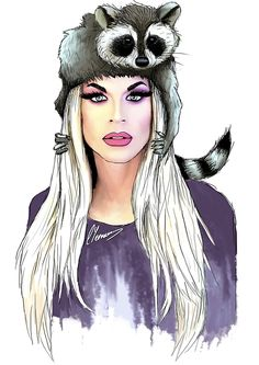 I didn't like the dead raccoon hat, it made me sad so I made it live. Rupaul Drag Queen, Katya Zamolodchikova, Trixie And Katya, Pix Art, Adore Delano, Queen Tattoo, Alaska Thunderfuck, Queen Photos, Queen Art