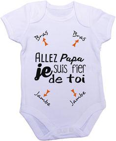 Personnalisable body grenouillère papa je suis fier de toi : Mode Bébé par creatike