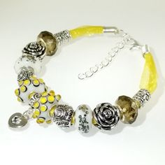 European Bracelet Handmade Lemon Yellow Grey Heart by BekisBeads