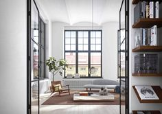 Light-filled Scandi living room of dreams. Scandi Living Room, Cozy Living, Home And Living, Exterior Design, Interior And Exterior, Oscar Properties, Modern Architecture, Mid-century Modern, New Homes