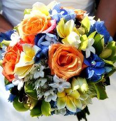 orange bridesmaid bouquet and blue dress