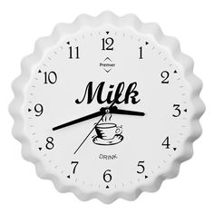 Wall Clock, Milk Bottle Cap, White Aluminium
