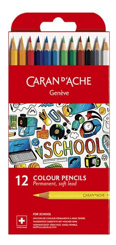 Lekolar: Värikynä Caran d'Ache Junior, 12 väriä Caran D'ache, Colored Pencils, Art Supplies, Color Crayons, Colouring Pencils, Paint Colors, Crayons