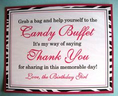 types of candy for a candy buffet | 8x10 Flat Candy Buffet Birthday Party Signs - Hot Pink and Black and ...