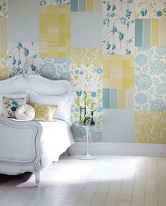 Bedroom - Update the idea of a patchwork quilt with a wallpaper instead. This one is in the traditionally successful mix of yellow and blue - perfect for a period-style country bedroom. From the Delphine collection by Harlequin