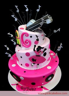 The 50's are back with this 3 tier topsy turvy birthday cake. The top tier includes a black cadillac emerging from the tier. The rest of the tiers include