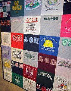 tshirt quilt tutorial. I am thinking this would make an AWESOME gift for Phil since he hates to get rid of his t-shirts. He is really attached to some of them. What a great way to keep them, but repurpose them when they are just too old/shabby to wear!