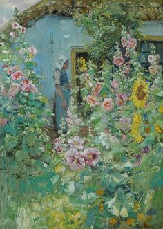 Paul Rink (Dutch, 1861-1903). Summer garden, oil on canvas, 70,2 x 50,4cm.