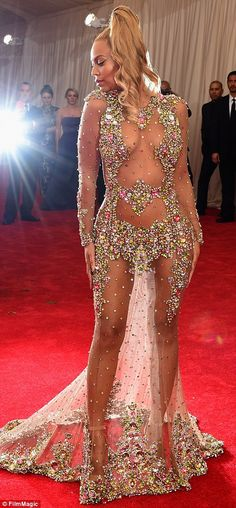 Queen Bey: The singer, wearing a Givenchy creation, trumped all her fellow guests as she p...