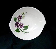 Blue Ridge FRENCH VIOLETS Tab Handled Bowl Purple Green Pottery Woodland Mountain Rustic Country Floral Vintage Dinnerware (6423)