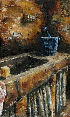 Trabajo en óleo y espátula interpretado - El viejo fregadero. Work in oil and spatule interpreted - The old sink. HMZEN'15