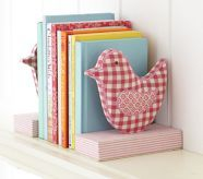 Fabric Bird Bookend Set....I could also try to make one with owls! too cute!