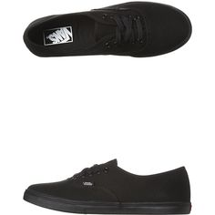 Vans Womens Authentic Lo Pro Shoe ($67) ❤ liked on Polyvore featuring shoes, sneakers, black, footwear, womens footwear, black lace up sneakers, vans shoes, black trainers, black shoes and vans sneakers