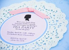 Silhouette and Doily Tea Party Invitation Design by beyonddesign