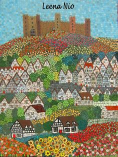 Flower village mosaic. -  done in tiny pieces.  -  tiles or paper?