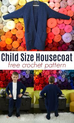 Everyone needs a comfy housecoat, even children! Whip one up with this free crochet pattern from Heart Hook Home! #crochet #freecrochetpatterns #crochetpattern