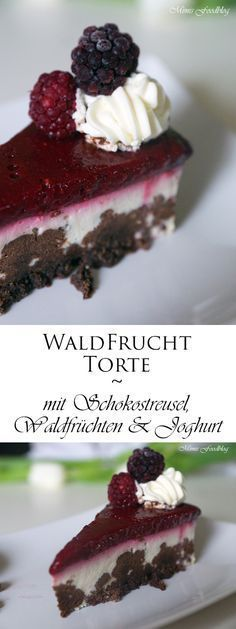 Eine meiner liebsten Torten ist diese leckere Waldfruchttorte. Daher gibt es heute keine großen Worte, sondern direkt das Rezept. Lasst es Euch gut schmecken – Nachbacken lohnt sich für alle Waldfrucht- und Joghurt-Fans! Die Anleitung ergibt entweder eine Torte oder acht kleine Törtchen. Zutaten Schokoladenstreuselboden: * 100g Kristallzucker * 200g weiche Butter * 1 Ei * … German Cake, World Recipes, Cakes And More, Let Them Eat Cake, No Bake Cake, Food To Make, Bakery, Food Porn, Food And Drink
