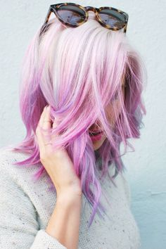 Platinum, lilac and pink hair