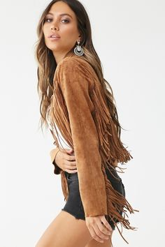 This soft and lightweight faux suede jacket has long fringe trim accents on the front and back yoke and on the long sleeves, an open front, and a semi-cropped hem. Suede Jacket, Faux Jacket, New York Outfits, Forever 21, Long Fringes, Fringe Jacket, Sweater Shop, Fringe Trim, Jacket Style