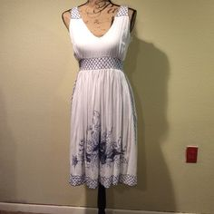 Carefree Summer Elegance! Versatile is the word for this elegant and playful summer dress. Easily at home at Country Thunder, Coachella, your cousins wedding. Amazing lacework details in a soft blue. Cotton, side zip, lined. Offers always warmly received. Hibis Lace Works Dresses Midi
