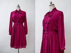 1970s Vintage Magenta Red Neck Tie Dress  Retro Pussy by FATFAM