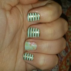 #VintageChicJN #MintGreenandGoldStripeJN  Check it out at SkylynnCoplen.jamberrynails.net