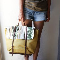 canvas, Mexican woven wool, and leather bag.  be sweet for an overnight bag, lil big for everyday